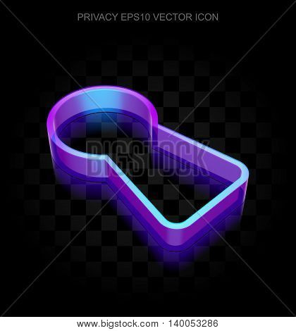 Security icon: 3d neon glowing Keyhole made of glass with transparent shadow on black background, EPS 10 vector illustration.