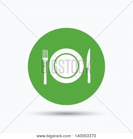 Dish, fork and knife icons. Cutlery symbol. Flat web button with icon on white background. Green round pressbutton with shadow. Vector