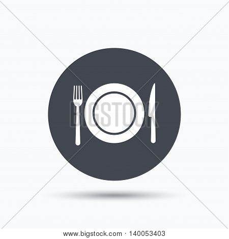 Dish, fork and knife icons. Cutlery symbol. Flat web button with icon on white background. Gray round pressbutton with shadow. Vector