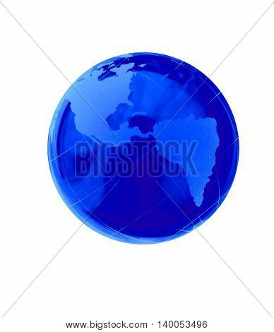 Blue earth crystal globe  illustration on the white background