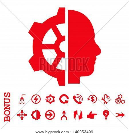 Cyborg Gear vector icon. Image style is a flat iconic symbol, red color, white background.