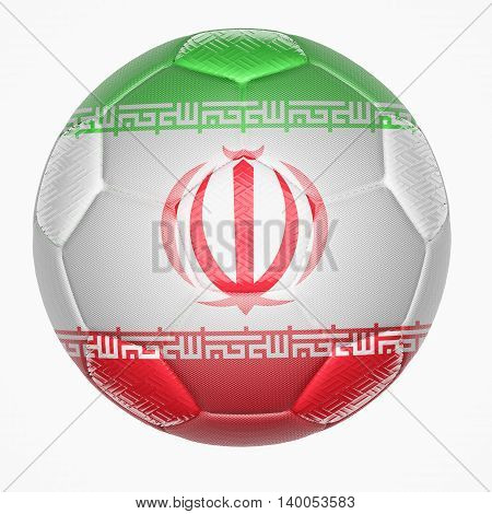 3D illustration of Soccer ball mapping with Iran flag