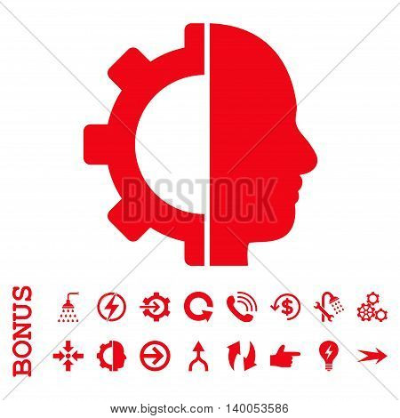 Cyborg Gear vector icon. Image style is a flat pictogram symbol, red color, white background.