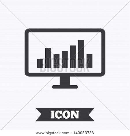 Computer monitor sign icon. Market monitoring. Graphic design element. Flat monitor chart symbol on white background. Vector