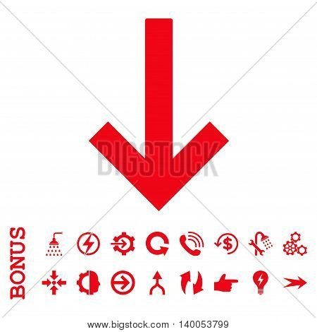 Down Arrow vector icon. Image style is a flat iconic symbol, red color, white background.