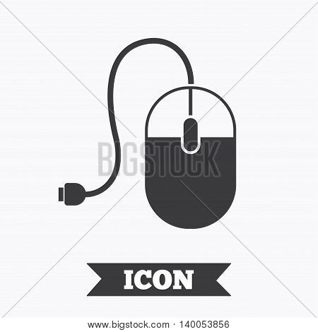 Computer mouse sign icon. Optical with wheel symbol. Graphic design element. Flat computer mouse symbol on white background. Vector