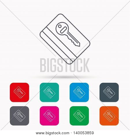 Electronic key icon. Hotel room card sign. Unlock chip symbol. Linear icons in squares on white background. Flat web symbols. Vector