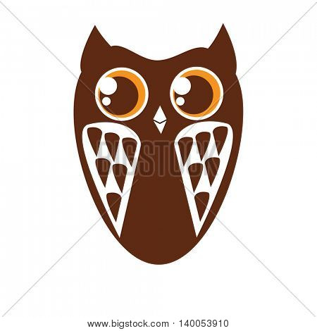 Cute brown owl isolated on white background. Owl icon. Vector illustration can be used for logo, card, wall decal