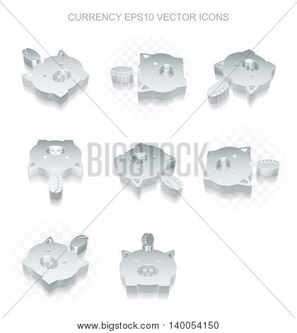 Banking icons set: different views of flat 3d metallic Money Box With Coin icon with transparent shadow on white background, EPS 10 vector illustration.