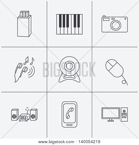 Smartphone, web camera and USB flash icons. Headphones, piano and photo camera linear signs. Computer, music center icons. Linear icons on white background. Vector