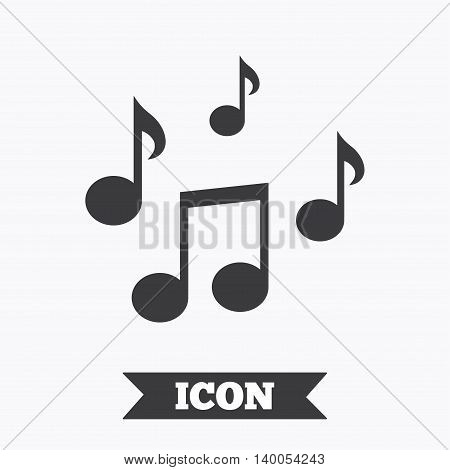 Music notes sign icon. Musical symbol. Graphic design element. Flat music notes symbol on white background. Vector