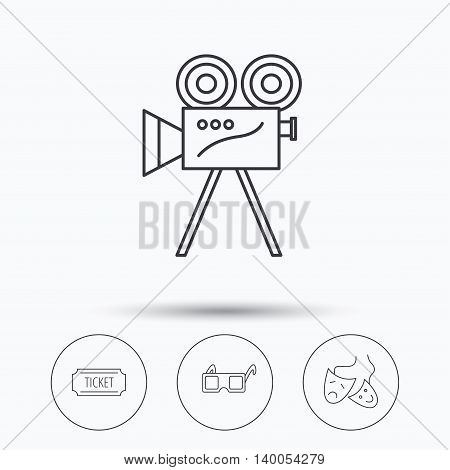 Ticket, video camera and theater masks icons. 3d glasses linear sign. Linear icons in circle buttons. Flat web symbols. Vector