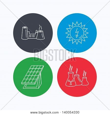 Solar collector energy, factory and industries icons. Solar energy linear signs. Linear icons on colored buttons. Flat web symbols. Vector