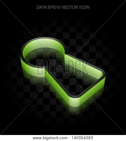 Information icon: Green 3d Keyhole made of paper tape on black background, transparent shadow, EPS 10 vector illustration.