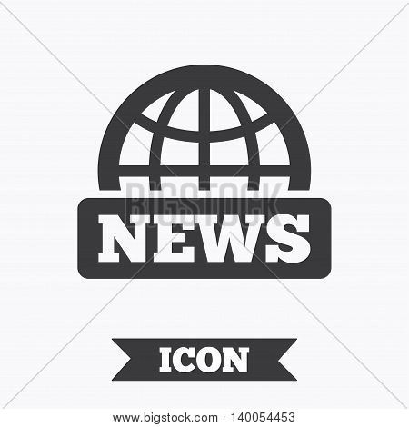 News sign icon. World globe symbol. Graphic design element. Flat news symbol on white background. Vector
