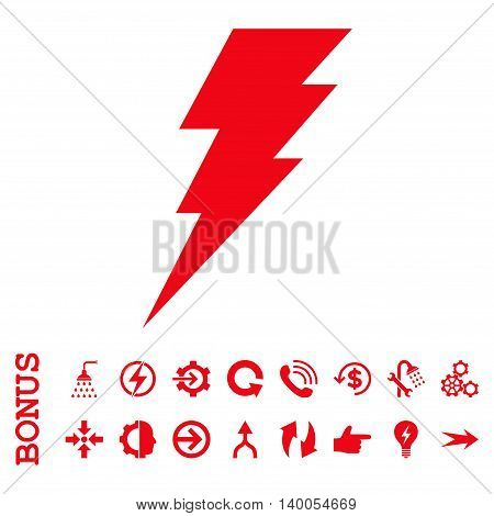 Execute vector icon. Image style is a flat iconic symbol, red color, white background.