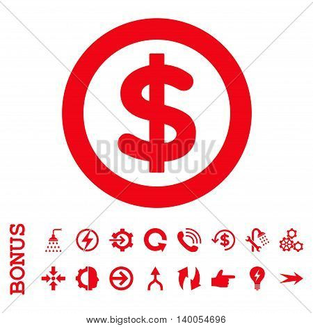 Finance vector icon. Image style is a flat pictogram symbol, red color, white background.