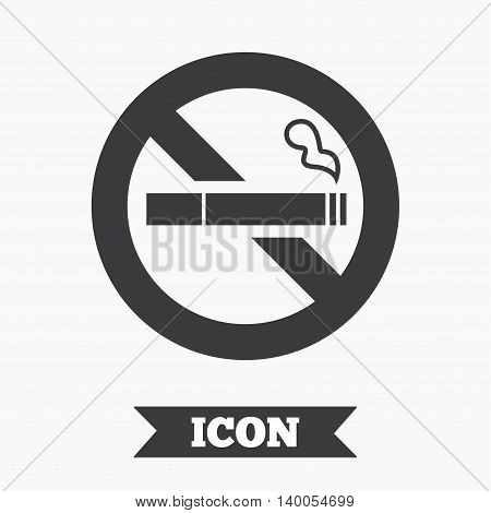 No Smoking sign icon. Quit smoking. Cigarette symbol. Graphic design element. Flat no smoking symbol on white background. Vector