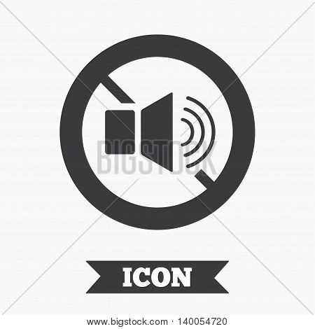 Speaker volume sign icon. No Sound symbol. Graphic design element. Flat no sound symbol on white background. Vector