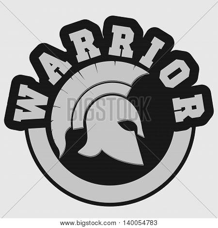 Spartan warrior t-shirt emblem Greek Helmet silhouette print - Gladiator stamp, legionnaire heroic soldier. vector
