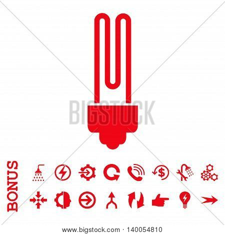 Fluorescent Bulb vector icon. Image style is a flat iconic symbol, red color, white background.