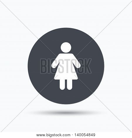 Woman icon. Female human symbol. User sign. Flat web button with icon on white background. Gray round pressbutton with shadow. Vector