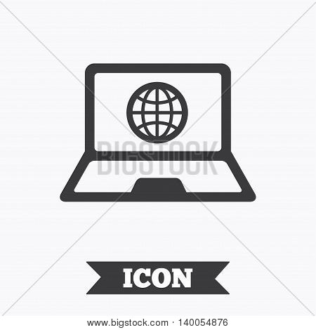 Laptop sign icon. Notebook pc with globe symbol. Graphic design element. Flat notebook symbol on white background. Vector