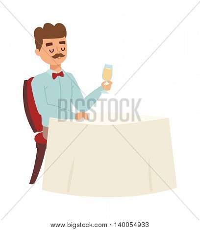 Lonely man vector illustration.