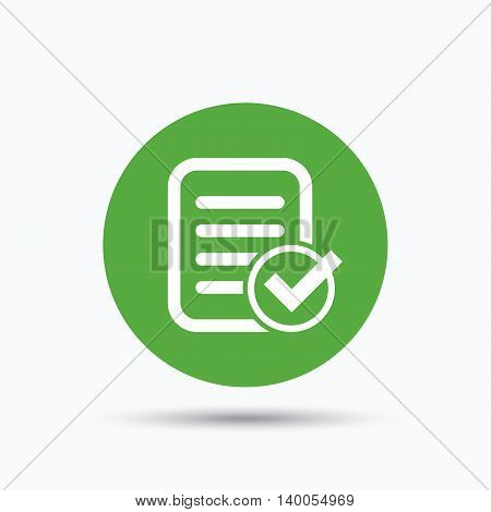 File selected icon. Document page with check symbol. Flat web button with icon on white background. Green round pressbutton with shadow. Vector