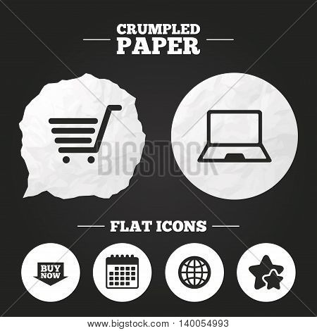 Crumpled paper speech bubble. Online shopping icons. Notebook pc, shopping cart, buy now arrow and internet signs. WWW globe symbol. Paper button. Vector