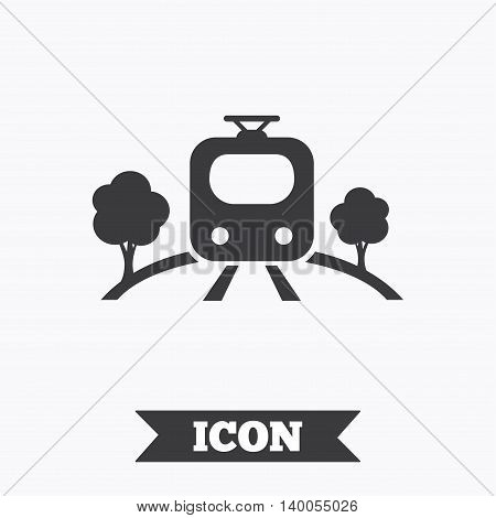 Overground subway sign icon. Metro train symbol. Graphic design element. Flat train symbol on white background. Vector