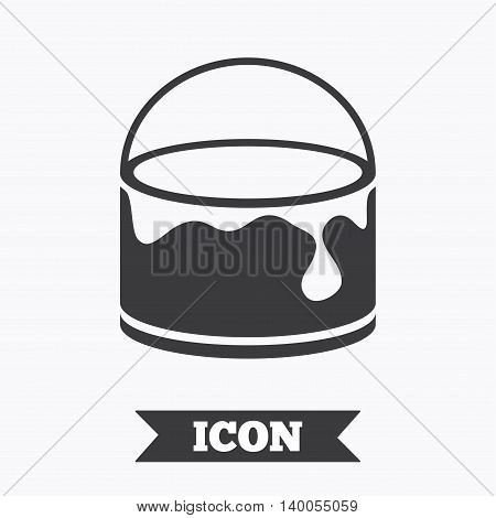 Bucket of paint icon. Painting works sign. Painter equipment. Graphic design element. Flat painting symbol on white background. Vector