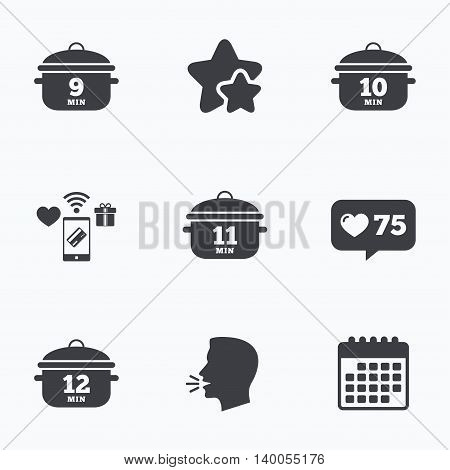 Cooking pan icons. Boil 9, 10, 11 and 12 minutes signs. Stew food symbol. Flat talking head, calendar icons. Stars, like counter icons. Vector