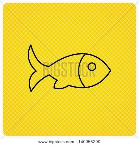 Fish with fin icon. Seafood sign. Vegetarian food symbol. Linear icon on orange background. Vector
