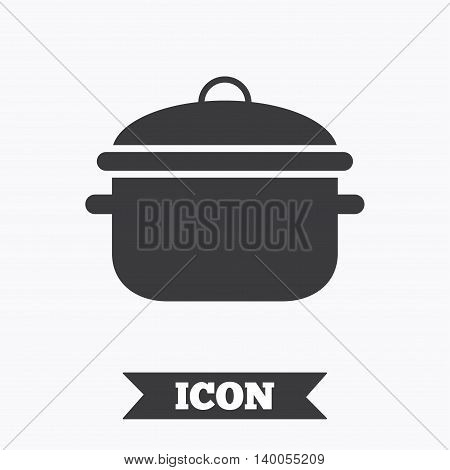 Cooking pan sign icon. Boil or stew food symbol. Graphic design element. Flat cooking pan symbol on white background. Vector