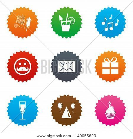Party celebration, birthday icons. Musical notes, air balloon and champagne glass signs. Gift box, fireworks and cocktail symbols. Stars label button with flat icons. Vector