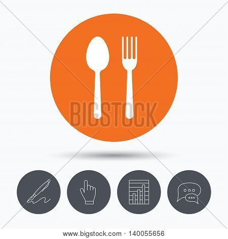 Food icons. Fork and spoon signs. Cutlery symbol. Speech bubbles. Pen, hand click and chart. Orange circle button with icon. Vector