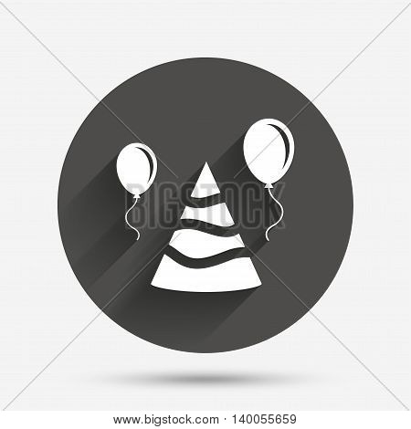 Party hat sign icon. Birthday celebration symbol. Air balloon with rope. Circle flat button with shadow. Vector