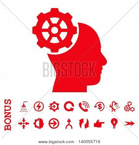 Head Gear vector icon. Image style is a flat pictogram symbol, red color, white background.
