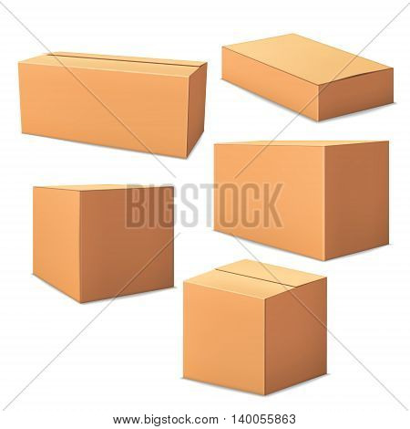Variations realistic cardboard boxes isolated on white background. 3D packaging.