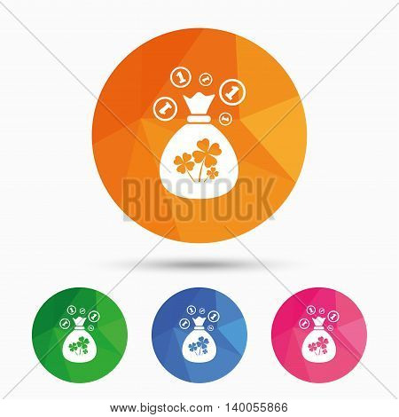 Money bag with Clovers and coins sign icon. Saint Patrick symbol. Triangular low poly button with flat icon. Vector