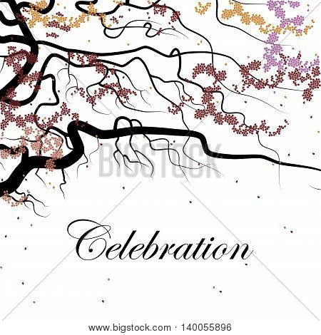 Cover design for the holiday . Shows a black branch with small  petals of the red, pink and  orange colors and the phrase celebration on the white background.