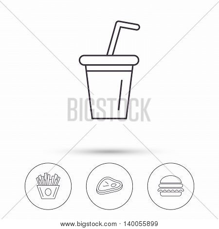Hamburger, meat and soft drink icons. Chips fries linear sign. Linear icons in circle buttons. Flat web symbols. Vector