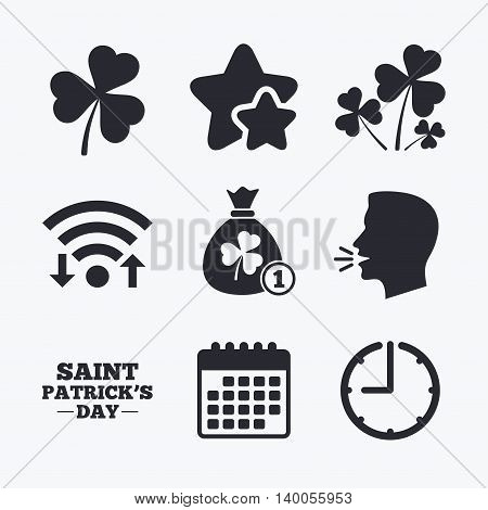 Saint Patrick day icons. Money bag with clover and coin sign. Trefoil shamrock clover. Symbol of good luck. Wifi internet, favorite stars, calendar and clock. Talking head. Vector