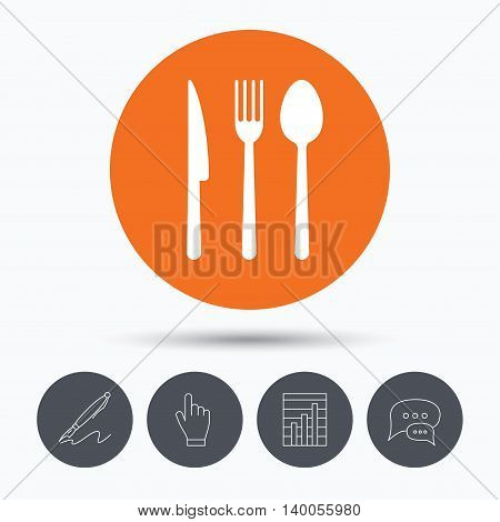 Fork, knife and spoon icons. Cutlery symbol. Speech bubbles. Pen, hand click and chart. Orange circle button with icon. Vector