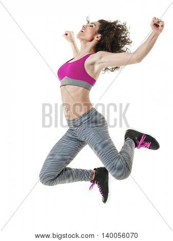woman dancer dancing fitness exercises isolated