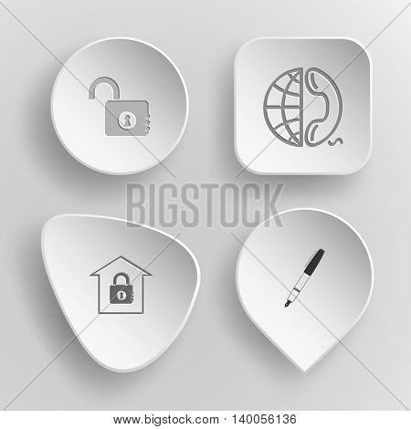 4 images: opened lock, globe and phone, bank, ink pen. Business set. White concave buttons on gray background. Vector icons.