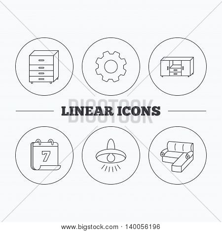 Corner sofa, ceiling lamp and chest of drawers icons. Furniture linear signs. Flat cogwheel and calendar symbols. Linear icons in circle buttons. Vector