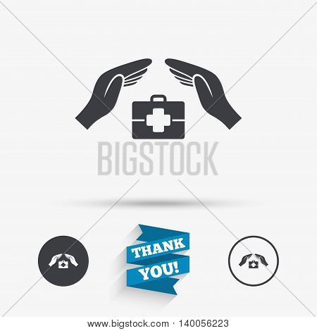 Medical insurance sign icon. Health insurance symbol. Doctor case. Flat icons. Buttons with icons. Thank you ribbon. Vector