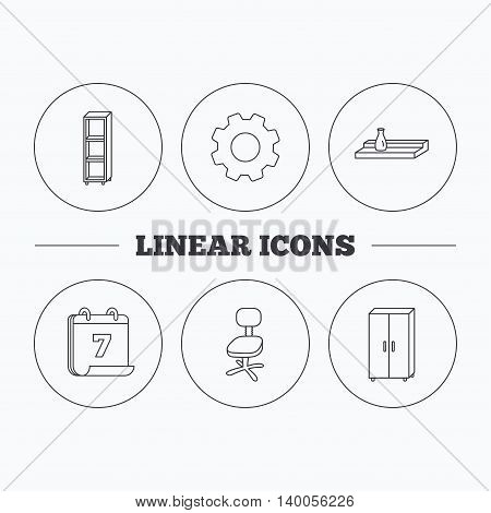 Office chair, cupboard and shelving icons. Wall shelf linear sign. Flat cogwheel and calendar symbols. Linear icons in circle buttons. Vector
